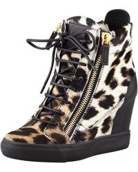 Giuseppe Zanotti Leopard-print Calf Hair Wedge Sneaker - Lyst