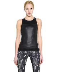 Adidas By Stella Mccartney Shiny Microfiber Mesh Tank Top - Lyst