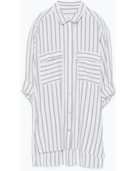 Zara Flap Pockets Striped Shirt - Lyst