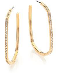 Michael Kors Cityscape Chains Pavé Goldtone Geometric Hoop Earrings/1.5 gold - Lyst