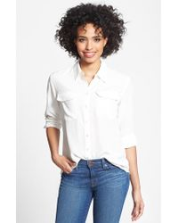 Two By Vince Camuto Silk Utility Blouse - White