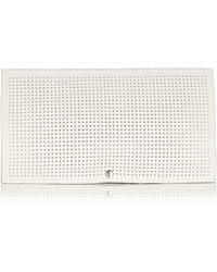 Karen Millen White Perforated Clutch - Lyst