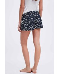 Urban Outfitters - Floral Printed Sleep Shorts In Navy - Lyst
