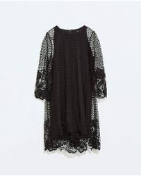 Zara Lace Dress with 34 Sleeve - Lyst