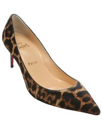 Christian Louboutin Brown Leopard Pony Hair 'Decollete 554' Pumps - Lyst