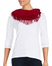 Lord & Taylor - Fringe-trimmed Infinity Scarf - Lyst