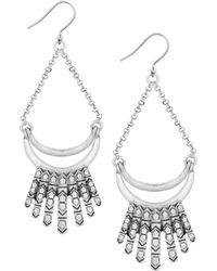 Lucky Brand - Silver-tone Semi-circle Fringe Drop Earrings - Lyst