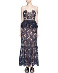 Self-Portrait | 'amaryllis' Sheer Floral Lace Column Dress | Lyst