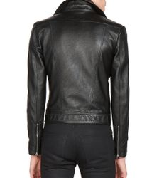 Saint Laurent | Cropped Leather Jacket | Lyst