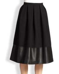 Christopher Kane Wool & Leather Princess Skirt - Lyst