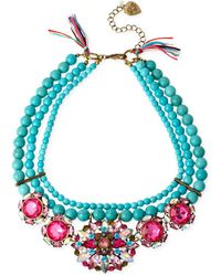 Betsey Johnson Gold-Tone Mixed Faceted Bead Semiprecious Turquoise Necklace teal - Lyst