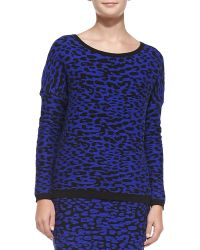 Rebecca Minkoff Leopard-jacquard Knit Pullover Sweater - Lyst
