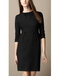 Burberry Bow Detail Wool Dress - Lyst