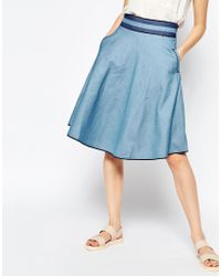 Harlyn - Chambray Midi Skirt With Striped Waistband - Lyst