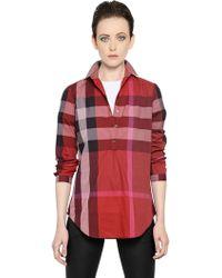 Burberry Brit Checked Cotton Poplin Shirt - Red