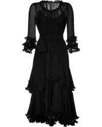 Ralph Lauren Blue Label - Silk Ruffled Dress - Lyst