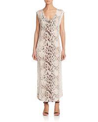 Haute Hippie Snakeskin Print Modal Maxi Dress - Lyst