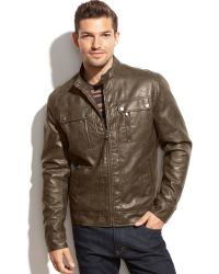 Michael Kors Michael Larimer Faux Leather Moto Jacket - Lyst