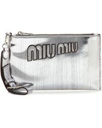 Miu Miu Embellished Leather Clutch - Lyst