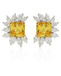 Carat* - Canary Yellow Floral Cluster Earrings - Lyst