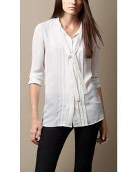 Burberry Tie Detail Silk Shirt - Lyst