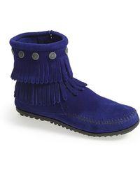 Minnetonka 'Double Fringe' Boot - Lyst