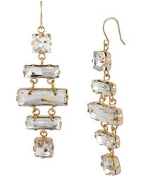 Kenneth Cole - Gold Tone Mixed Faceted Bead Chandelier Drop Earrings - Lyst
