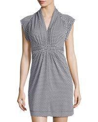 French Connection Chevron Tie-Waist V-Neck Dress - Lyst