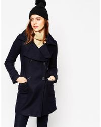 ASOS Military Double Breasted Overcoat With Oversized Collar - Blue