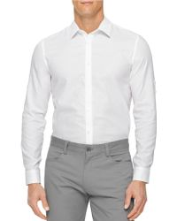 Calvin Klein Solid Long-Sleeve Sportshirt - Lyst