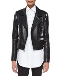 DKNY Cropped Leather Zip Moto Jacket - Lyst