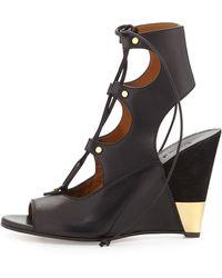 Chloé Leather Gladiator Wedge Sandal - Black