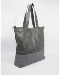 ASOS Tote Bag With Faux Suede Trim - Gray