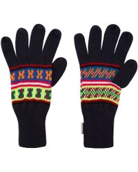 Penfield Navy Mera Neon Knitted Gloves