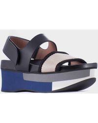 Marni Blue Sandal With Exterior Wedge - Lyst
