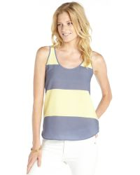 French Connection Cornflower Blue And Yellow Woven Striped Sleeveless Tank - Lyst