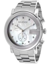 Gucci G-Chrono Diamonds Chronograph White Mop Dial Stainless Steel - Lyst