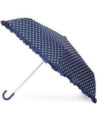 Forever 21 Polka Dot Ruffled Travel Umbrella - Blue