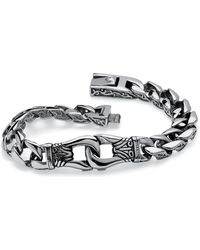 Palmbeach Jewelry - Men's Design Link Bracelet In Stainless Steel - Lyst
