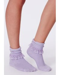 Missguided - Marotta Lilac Lace Frill Ankle Socks - Lyst