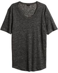 H&M Linen T-Shirt - Lyst