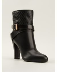 Sergio Rossi Mesh Insert Buckled Boots - Lyst