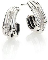 John Hardy | Bamboo Diamond & Sterling Silver Triple Hoop Earrings/0.6 | Lyst