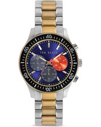 Ted Baker Two Tone Rotating Bezel Chronograph Watch 42mm - Lyst