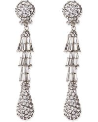 Jose & Maria Barrera Silver-Plated Deco Crystal Clip-On Earrings - Lyst