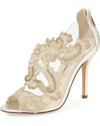 Oscar de la Renta Ambria Metallic Beaded Lace Sandal - Lyst