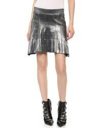 Ohne Titel - Foil Knit Skirt Silverblack - Lyst
