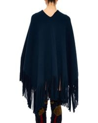 Burberry Prorsum - Fringed Wool And Cashmere-blend Poncho - Lyst