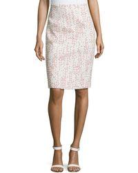 Carolina Herrera Tweed Pencil Skirt beige - Lyst