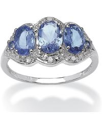 Palmbeach Jewelry - 1.98 Tcw Oval Tanzanite And Diamond Ring In Platinum Over Sterling Silver - Lyst